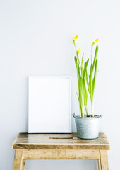 white frame, place for text  with narcissus. Scandinavian loft