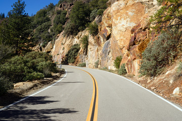Two Lane Road Through Granite Rock King's Canyon California
