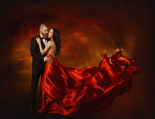 Elegant Couple Dancing in Love, Man and  Woman in Red Dress