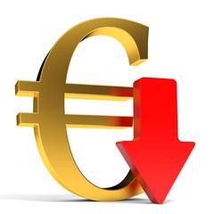 Euro falls. Arrow