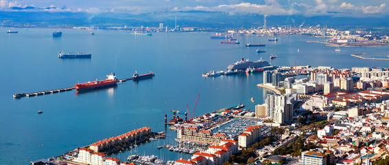 residential areas and port of Gibraltar