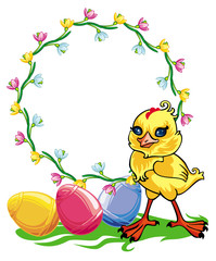 Easter chicken and round frame with flowers