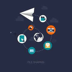 vector modern file sharing concept illustration