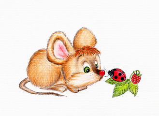 Cute mouse and lady bug