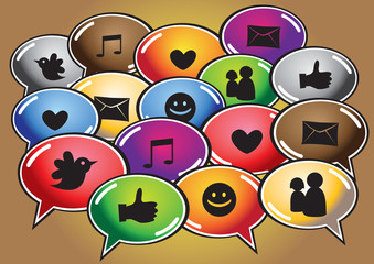 Social networking icons in speech balloons vector illustration