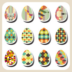 easter eggs retro pattern set
