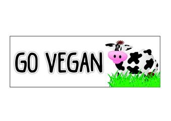 Go Vegan - Aufkleber - Sticker / Kuh / Cow