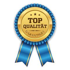 Goldener Top Qualität Siegel Mit Blauer Scherpe