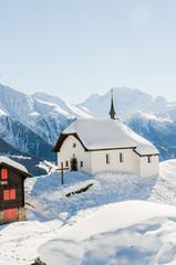 Bettmeralp, Walliser Bergdorf, Alpen, Kapelle, Winter, Schweiz