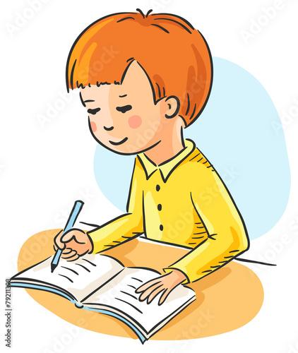 Рисунок мальчика делающего уроки
