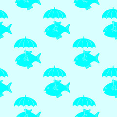 Fish with umbrella pattern