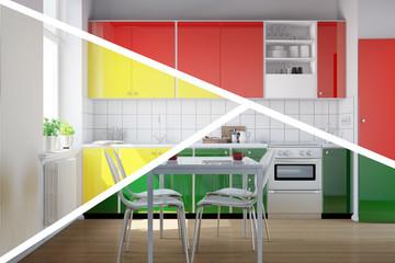 Küchenzeile in Küche in drei Farben