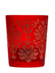 stylish red candle in a glass