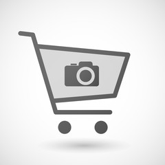 Shopping cart icon with a photo camera