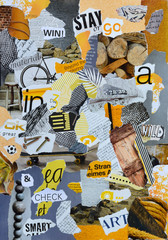 Mood board whith yellow colors for a man