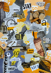Mood board whith yellow colors fo a man