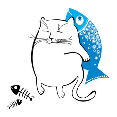 Funny cat with fish. Series of comic cats.