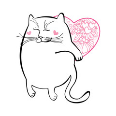 Funny cat with heart. Series of comic cats