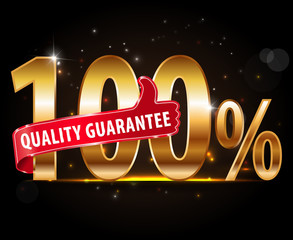 100% quality Guarantee typography, sticker, tag, label