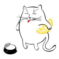 Funny cat with cheese. Series of comic cats.