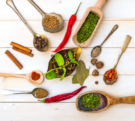 spoons with herbs and spices