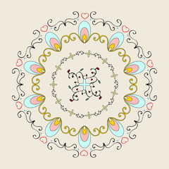 Circle ornament with floral elements