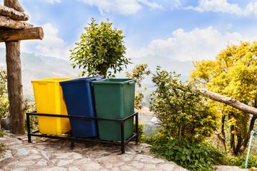Garbage bins on mountain