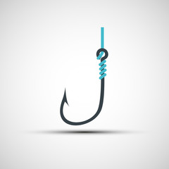 Vector icons fishing hook and line
