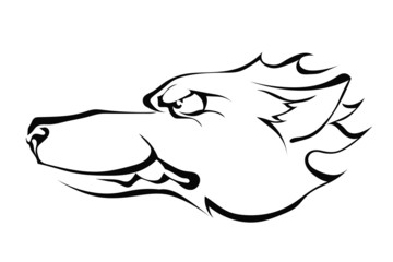Wolf's head in profile isolated on white background. Logo. Vecto