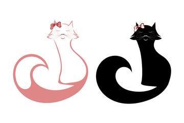 Set of silhouettes of cats isolated on a white background. Glamo