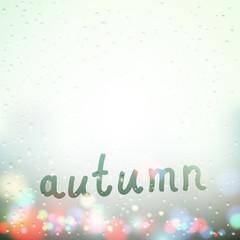Fall word written on Sweaty Window