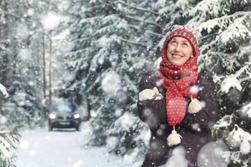snowfall nature portrait of woman health beauty