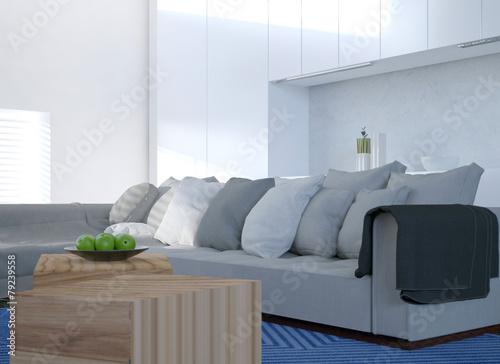 """Wohnzimmer Eckcouch, komfortable eckcouch in einem hellen wohnzimmer"""" stock photo and, Design ideen"""