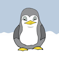 cartoon style penguin on winter background