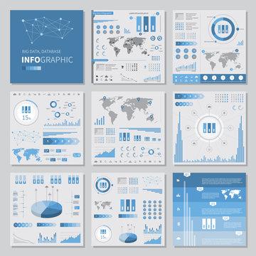 big data infographics set elements, flat style