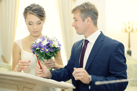 wedding ceremony in a registry office painting, marriage