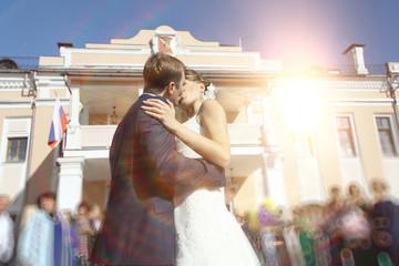summer wedding photo of bride and groom