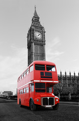 Foto auf Leinwand London roten bus Londonbus vor Big Ben