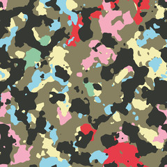 Seamless multicolor fashion woodland camouflage pattern