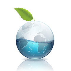 Earth with green leaf and water