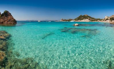 Clear turquoise water of Cala Corsara bay in Sardinia