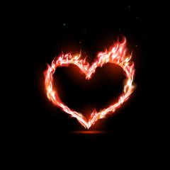 human heart with red flames