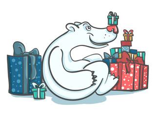 медведь с подарками
