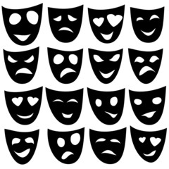 Black Mask different emotions. Vector.