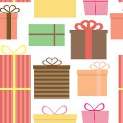 Different Gift Box Seamless Pattern Background Vector Illustrati