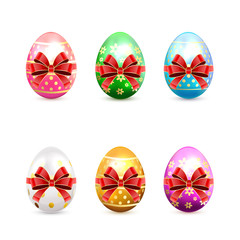 Set of Easter eggs with bow