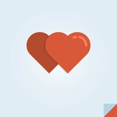 vector illustration of two red hearts on a folded paper