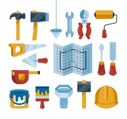 set of vector construction tools icons, flat style illustration