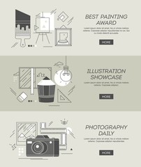 three conceptual banners on topics of painting, illustration and