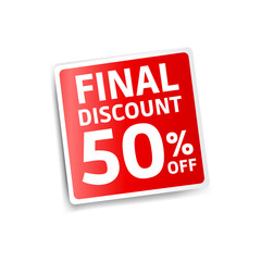 Final Discount 50% Off Red Sticker